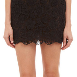 VALENTINO - Monochrome-Block Lace Mini Dress