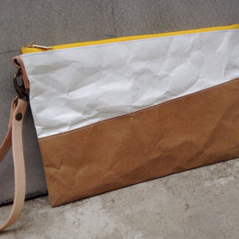 Belltastudio - Kraft and Tyvek paper clutch bag yellow zipper with leather wristlet