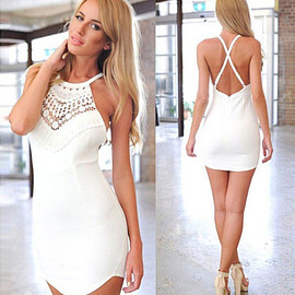 Sexy Backless Lace Spliced Halter Crossover Sling Dress