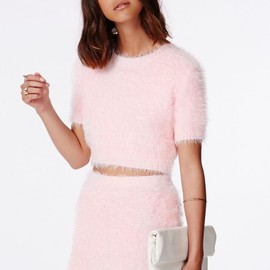 Missguided - Alycia Fluffy Knit Cropped Jumper Baby Pink