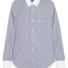 sacai luck - Striped cotton, silk-tulle and mesh shirt