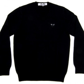 PLAY COMME des GARCONS - Black Play V Neck Sweater (Black)
