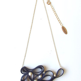 HOMAKO - Kune Grosgrain Necklace 2 - Black