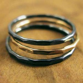 Melissa Joy Manning - 3 Stacking Rings - Oxidized Silver and 14k Gold