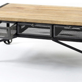 Kathy Kuo Home - Tribeca Industrial Mesh Drawer Caster Wheel Coffee Table eclectic coffee tables