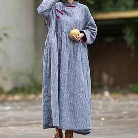 dress - Cotton gray, pink Loose Fitting dress for women, Vintage Print Dress, Maternity Clothing