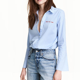 H&M - Shirt with flared sleeves - Blue/Narrow striped
