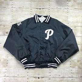 VINTAGE - Vintage 1960s Navy Blue Letter P Baseball Jacket #55 Union Made in USA Mens Size XL