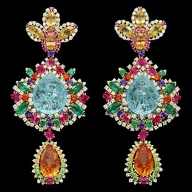 Christian Dior - Boucles d'oreilles Dear Dior « Dentelle Chantilly Multicolore »