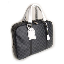 LOUIS VUITTON - Damier Graphite Porte-Documents Voyage White Handle