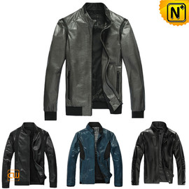 CWMALLS - Slim Fitted Leather Jacket uk CW138450 - cwmalls.com