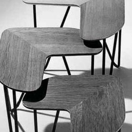 Jacques Hitier - Series of 2 Wood & Metal Tables, 1950's