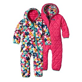patagonia - Baby Reversible Puff-Ball Bunting - Playtime Pals: Rossi Pink PRYP