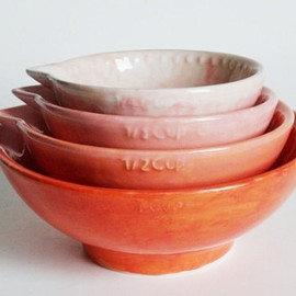 GrayDecember - Ombre Measuring Cup Set of Four - Coral and Pink Autumn - Nesting Kitchen Gift - Hand Painted