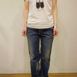 Porter des boutons - Porter des boutons/ポルテデブトン プティポワンローファープリントTシャツ M.GRAY P-13205