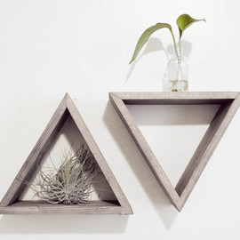 Junglai - Set of 2 Triangle shelves - Barnwood grey - Floating shelf set