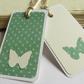 Luulla - Butterflies and Green gift tag bookmarks (set of 2)