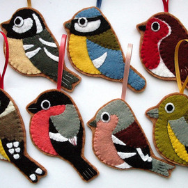 lupin - British Birds, set of 7 felt Christmas ornaments