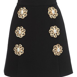 DOLCE&GABBANA - FW2015 Techno Double Crepe Brooch Mini Skirt