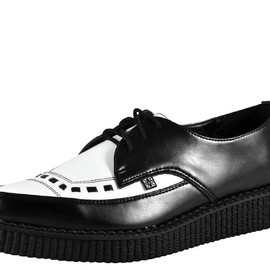 T.U.K. Shoe - Black & White Leather Tie Pointed Toe Creeper
