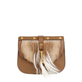 VALENTINO - Pre-Fall 2015 Grained leather and fur shoulder bag