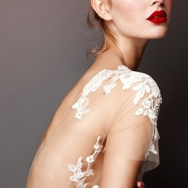 Lace + sheer from Errico Maria 2013 Bridal Collection, love the overall look from the dress, to the make up & hair!