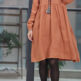 etsy - Double layer collar linen dress knee length dress
