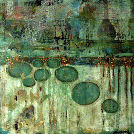 "Suzan Buckner - ""2011-34-Abstract"", acrylic on wood"