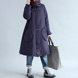 loose padded coat - Winter loose padded coat large size long overcoats in dark blue/ Coffee/ red