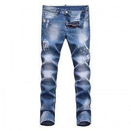 DSQUARED2 - Dsquared2 SS2018 Mens Long Jeans Snowflake Scratch Blue