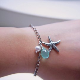 Luulla - Antique Silver Starfish Bracelet. Marine. Summer. Beach