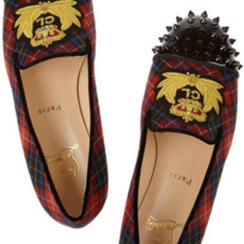 Christian Louboutin - Intern tartan canvas and patent-leather loafers