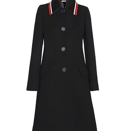 miu miu - SS2016 Wool coat with striped leather collar