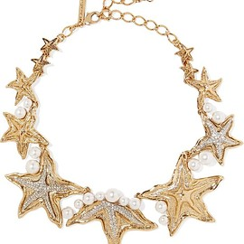 Oscar de la Renta - Sea Star gold and silver-tone, Swarovski crystal and pearl necklace