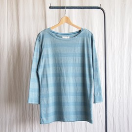 TROVE - WAVELET BOAT NECK TEE #blue green