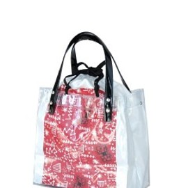 TOGA ODDS&ENDS - Viny Tote Bag Small (white/red)