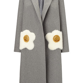 ANYA HINDMARCH - FW2016 Oversized Coat Eggs In Light Grey Wool With  Mink Trim