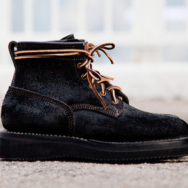 Viberg - Black Oil Rough Out Bobcat Suede Boots