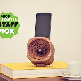 TOK TOK - Trobla: A wooden amplifier for iPhone and other smartphones