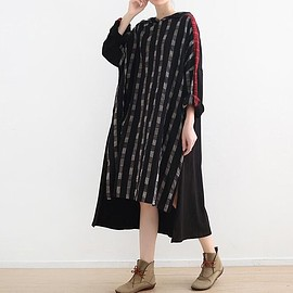 Loose Fitting Black dress - Cotton and linen Hooded dress, Loose Fitting Black dress, dress women, long sleeve dress
