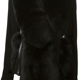 Altuzarra - Altuzarra Fox Fur Trim Overcoat in Black