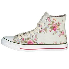 Cath Kidston - Washed roses high top plimsolls