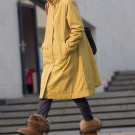 Women winter Clothing oversized loose double breasted wool coat yellow Overcoat