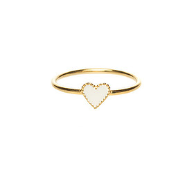 Phoebe coleman - White Enamel Heart Ring - Gold