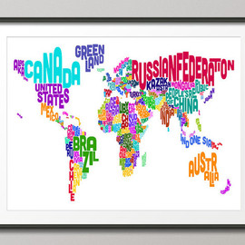 artPause - Typographic Text Map of the World Map, Art Print 18x24 inch (891)
