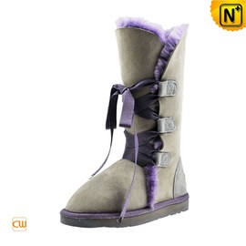 cwmalls - Ladies Grey Shearling Snow Boots CW314401
