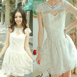 Luxury lace rhinestone flowers princess dress