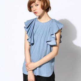 Tank top with asymmetrical ruffles