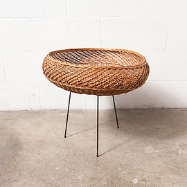 MID CENTURY WICKER AND WIRE BASKET