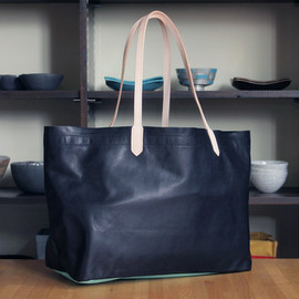 EOTOTO - Shopping Leather Tote Bag #black×mint